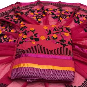Delightful Pink Colored Embroidered Partywear Chanderi Silk Dress Material