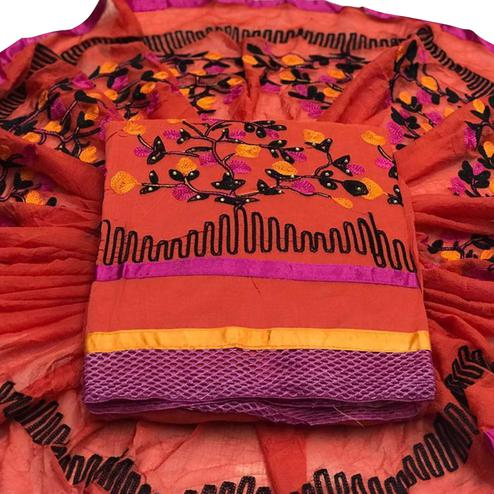 Dazzling Orange Colored Embroidered Partywear Chanderi Silk Dress Material