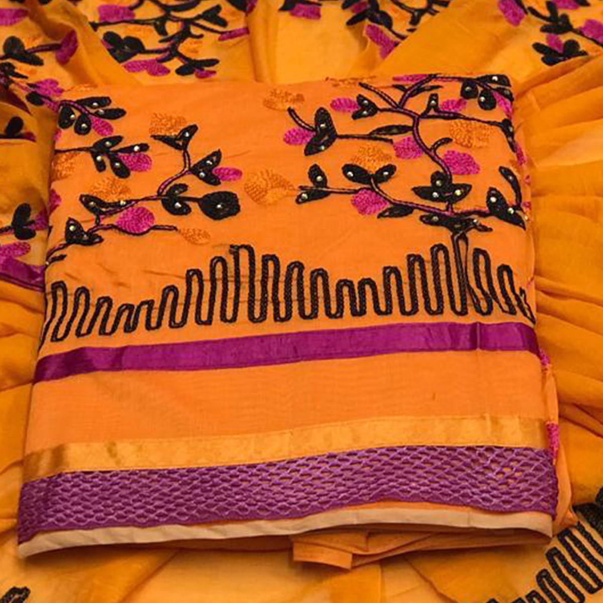Marvellous Yellow Colored Embroidered Partywear Chanderi Silk Dress Material
