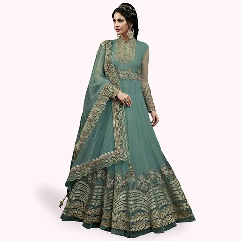 Engrossing Light Sky Blue Colored Partywear Embroidered Abaya Style Netted Anarkali Suit