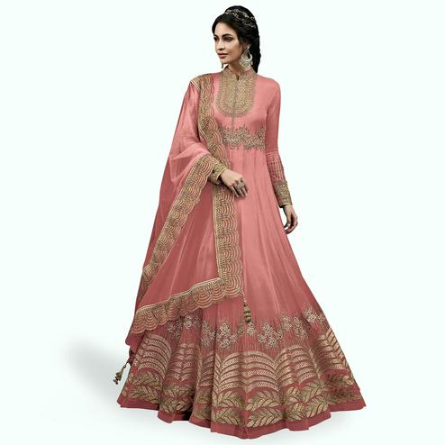Captivating Light Pink Colored Partywear Embroidered Abaya Style Netted Anarkali Suit