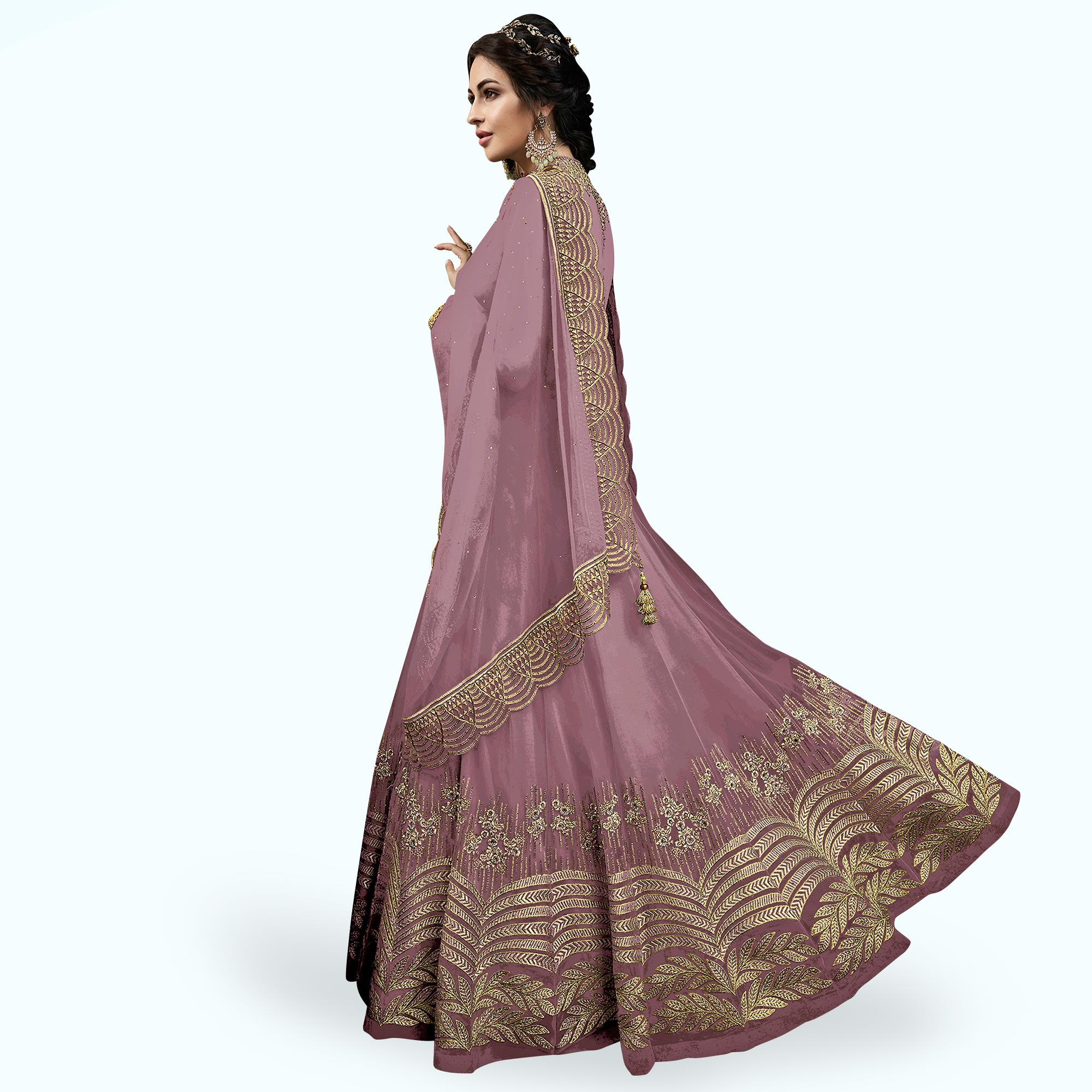 Innovative Purple Colored Partywear Embroidered Abaya Style Netted Anarkali Suit