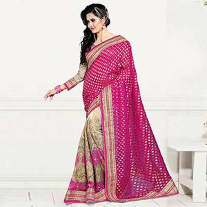 Tan - Pink Net and Viscos Jacquard Saree