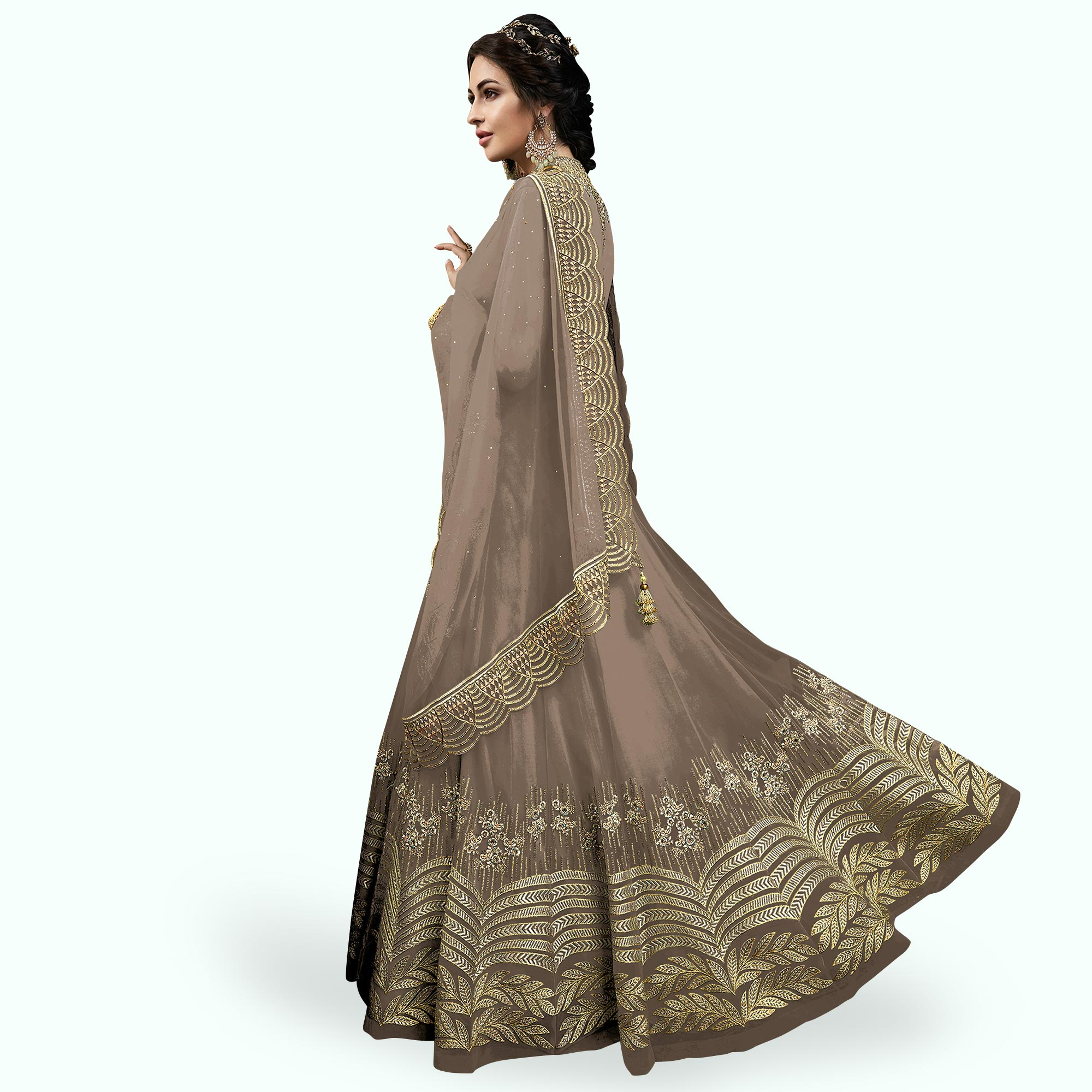 Eye-catching Gray Colored Partywear Embroidered Abaya Style Netted Anarkali Suit