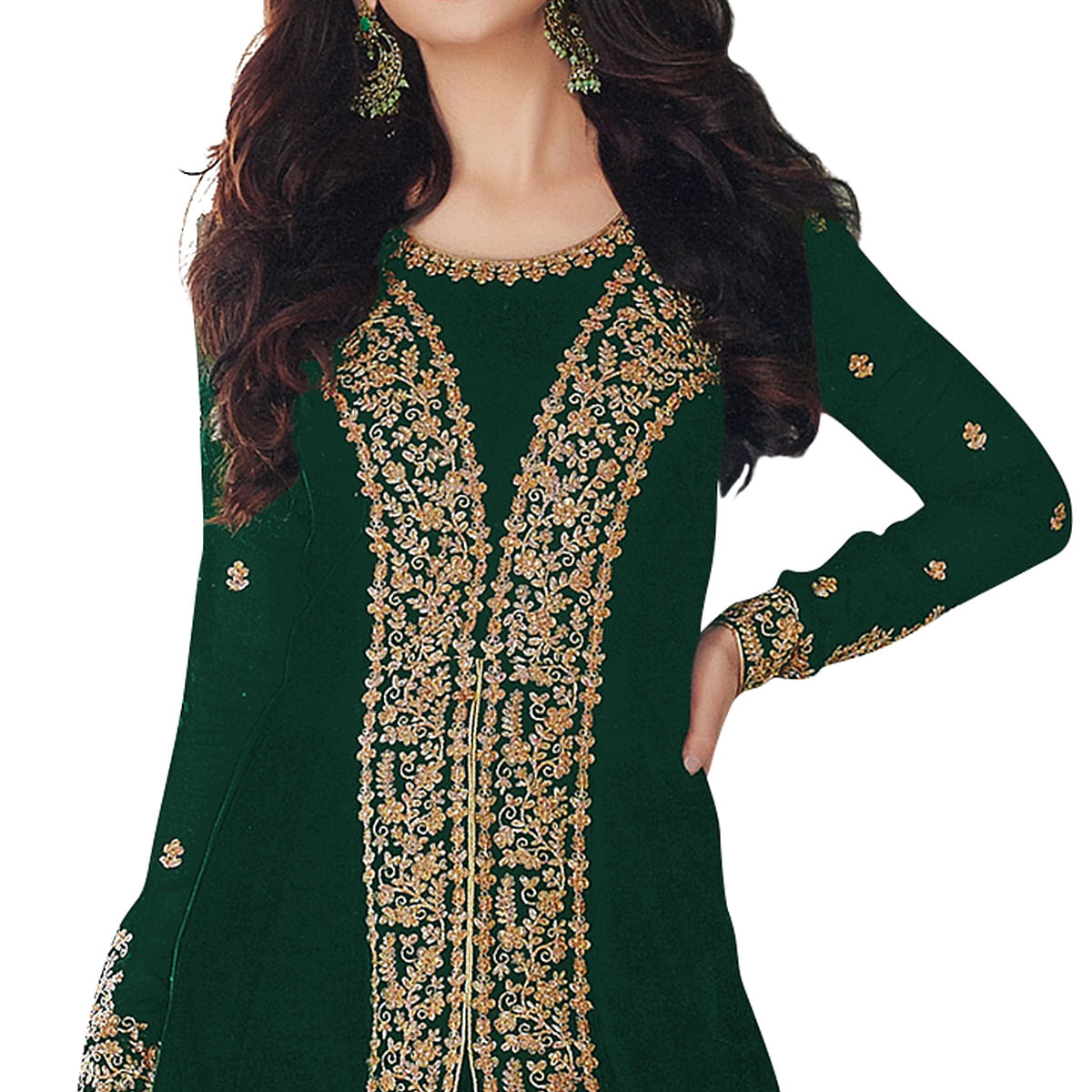 Breathtaking Green Colored Partywear Embroidered Georgette Anarkali Suit