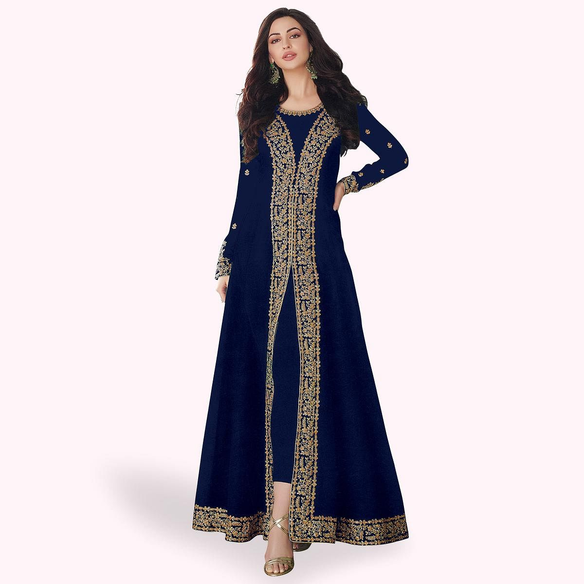 Ethnic Navy Blue Colored Partywear Embroidered Georgette Anarkali Suit