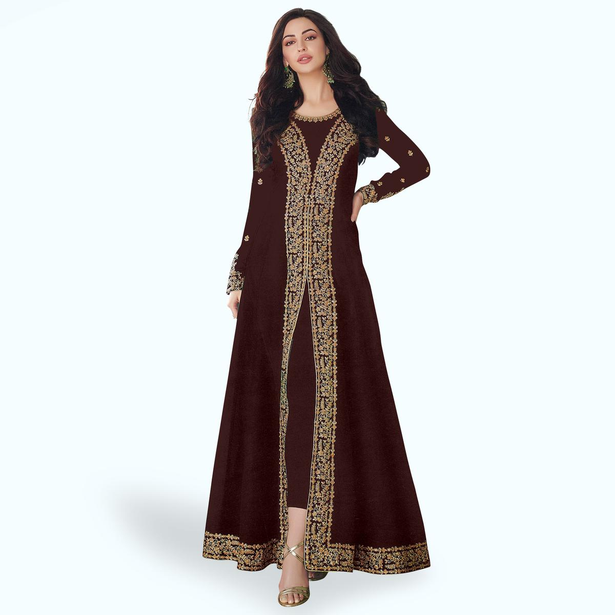 Staring Brown Colored Partywear Embroidered Georgette Anarkali Suit