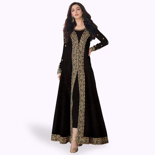 Dazzling Black Colored Partywear Embroidered Georgette Anarkali Suit