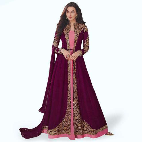 Intricate Purple-Pink Colored Partywear Embroidered Abaya Style Georgette Anarkali Suit