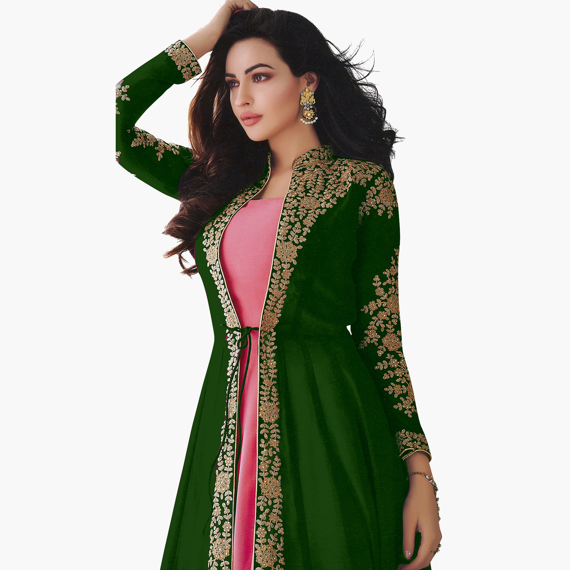 Arresting Green-Pink Colored Partywear Embroidered Abaya Style Georgette Anarkali Suit