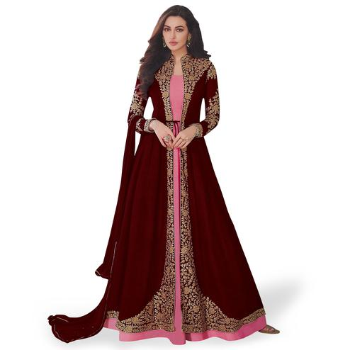 Desirable Maroon-Pink Colored Partywear Embroidered Abaya Style Georgette Anarkali Suit
