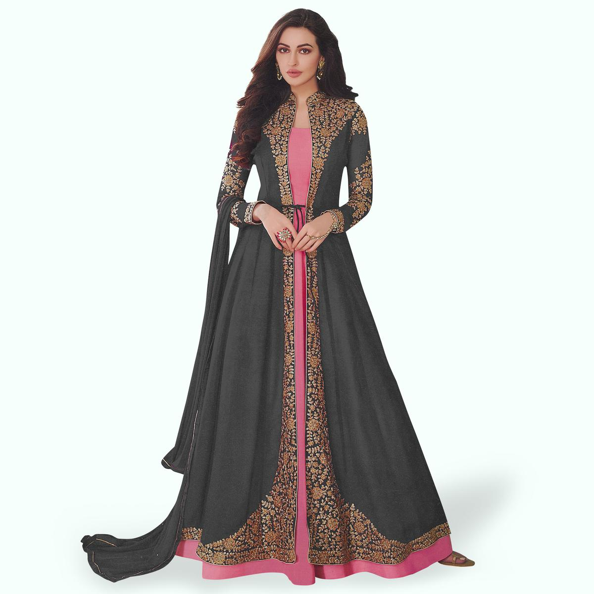 Exotic Gray-Pink Colored Partywear Embroidered Abaya Style Georgette Anarkali Suit
