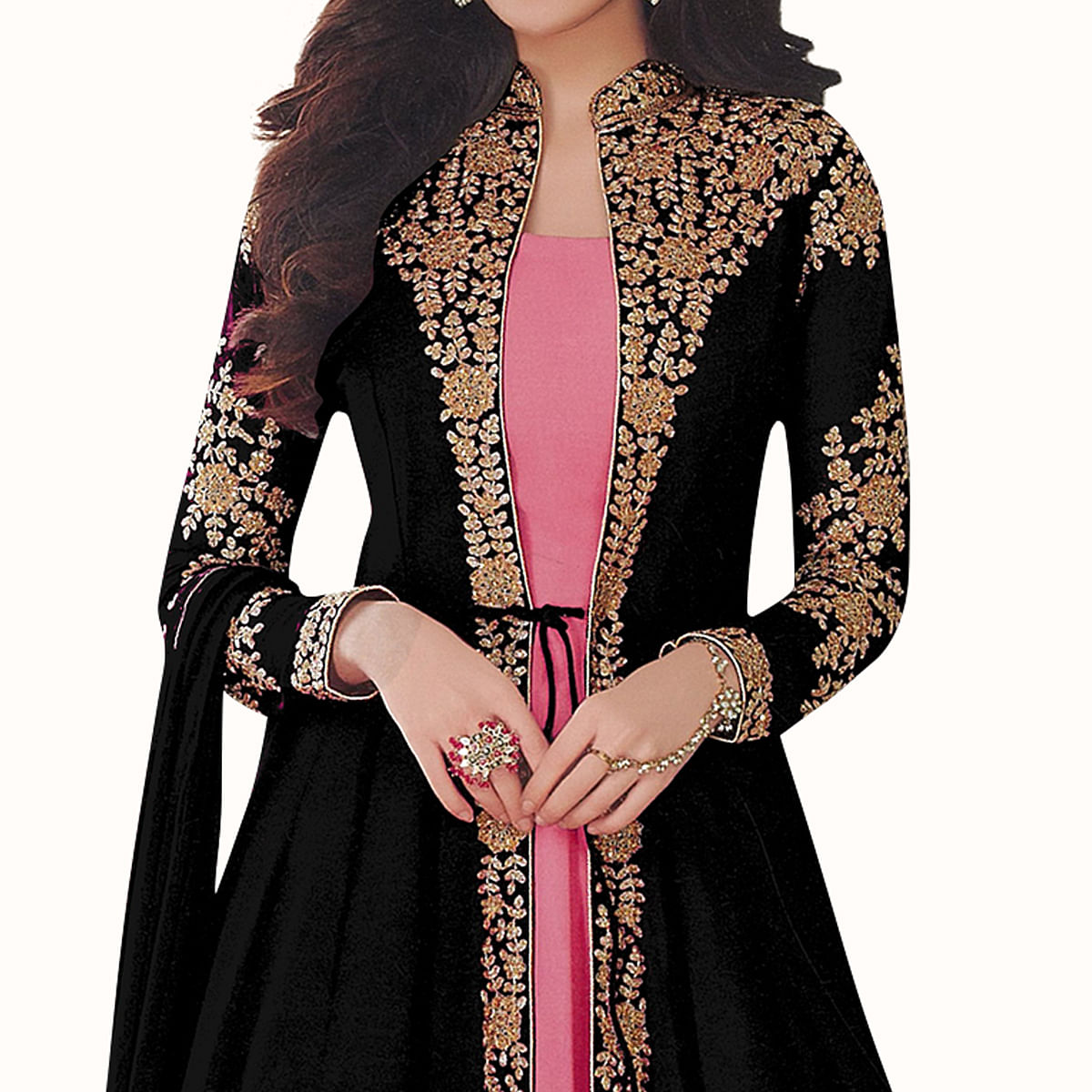 Sophisticated Black-Pink Colored Partywear Embroidered Abaya Style Georgette Anarkali Suit
