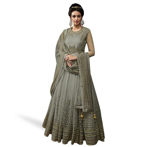 Opulent Gray Colored Partywear Embroidered Abaya Style Netted Anarkali Suit