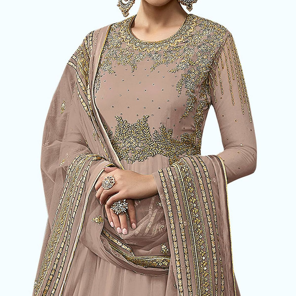 Exceptional Light Mauve Colored Partywear Embroidered Abaya Style Netted Anarkali Suit