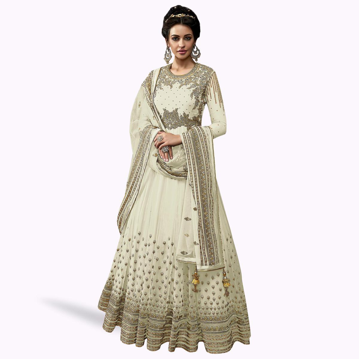 Gleaming White Colored Partywear Embroidered Abaya Style Netted Anarkali Suit