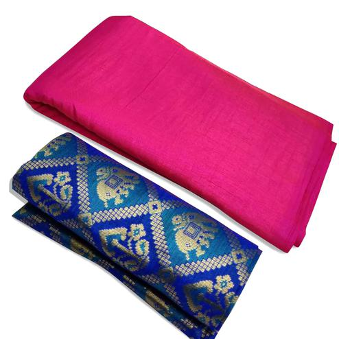 Attractive Pink Colored Festive Wear Zoya Silk Saree