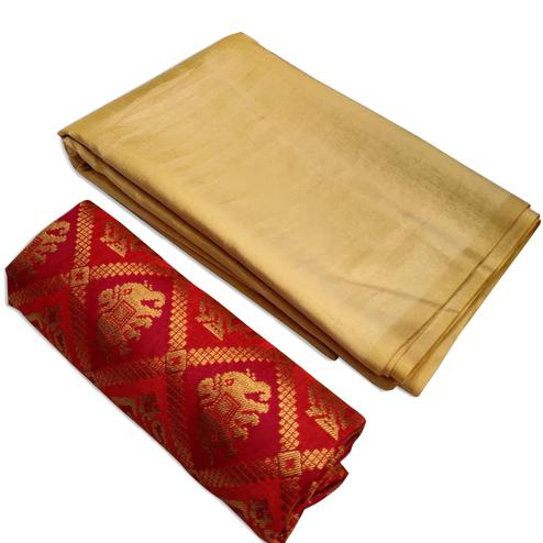 Impressive Beige Colored Festive Wear Zoya Silk Saree
