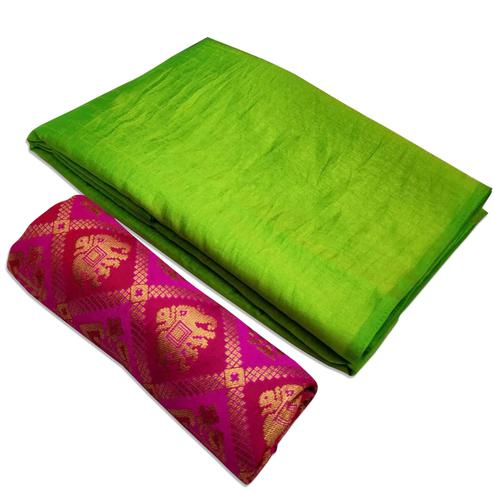 Gleaming Green Colored Festive Wear Zoya Silk Saree