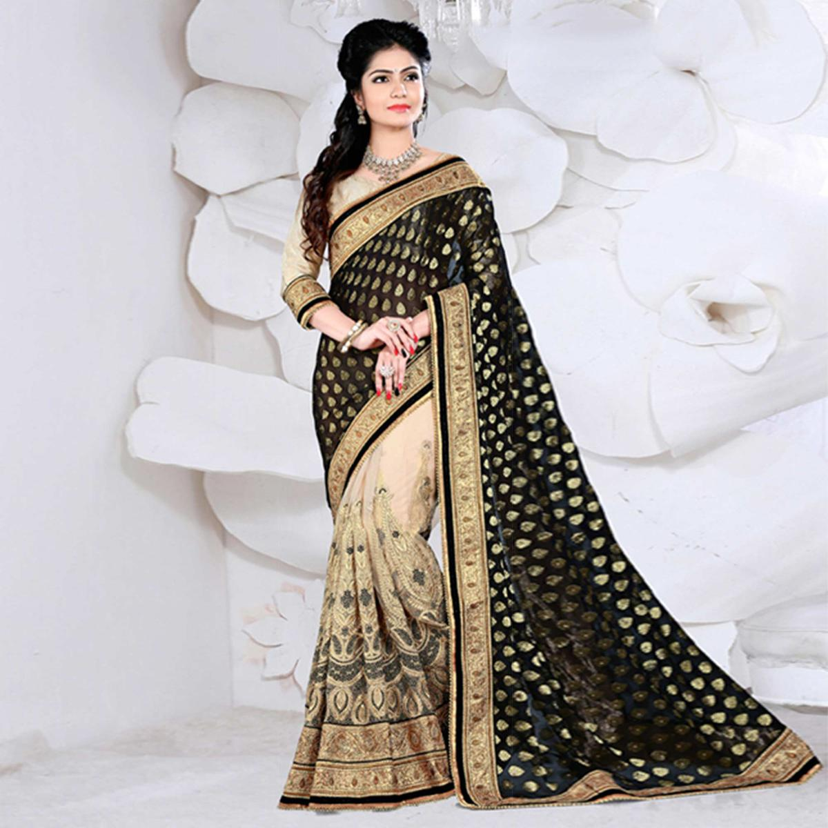 Tan - Black Net and Viscos Jacquard Saree