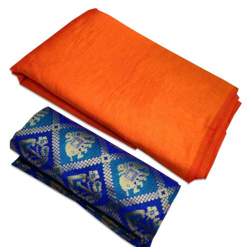 Blooming Orange Colored Festive Wear Zoya Silk Saree