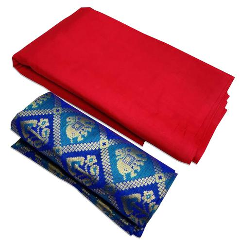 Traditional Red Colored Festive Wear Zoya Silk Saree