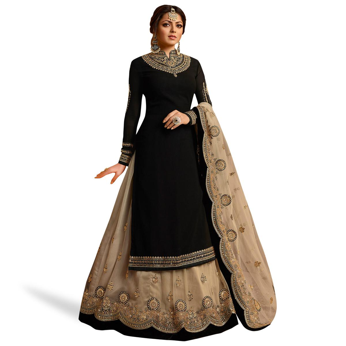 Delightful Black Colored Partywear Embroidered Georgette Lehenga Kameez