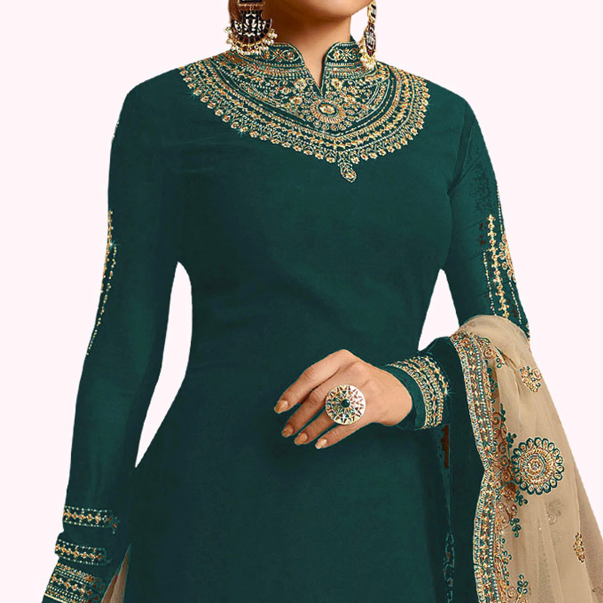 Engrossing Green Colored Partywear Embroidered Georgette Lehenga Kameez