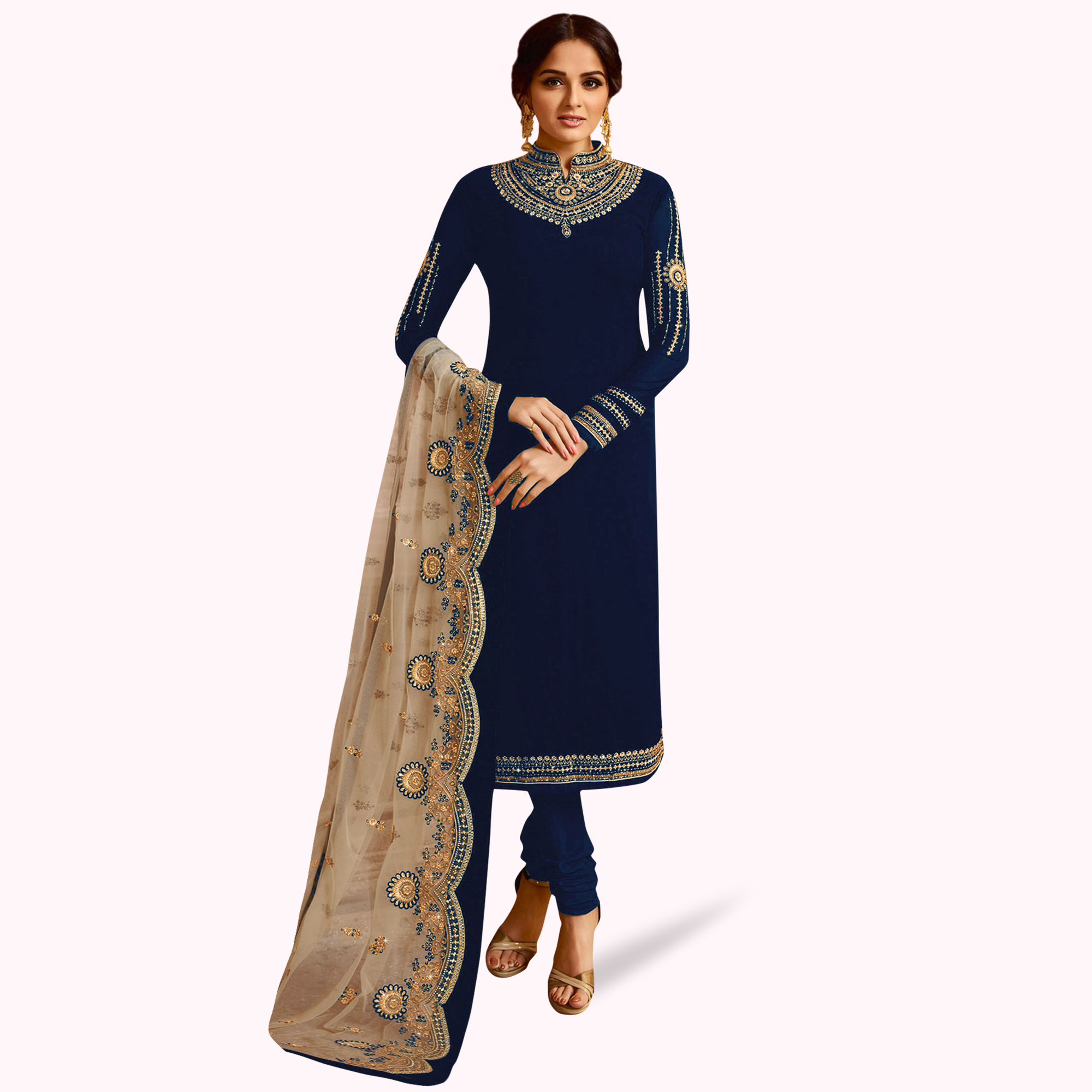 Captivating Navy Blue Colored Partywear Embroidered Georgette Lehenga Kameez