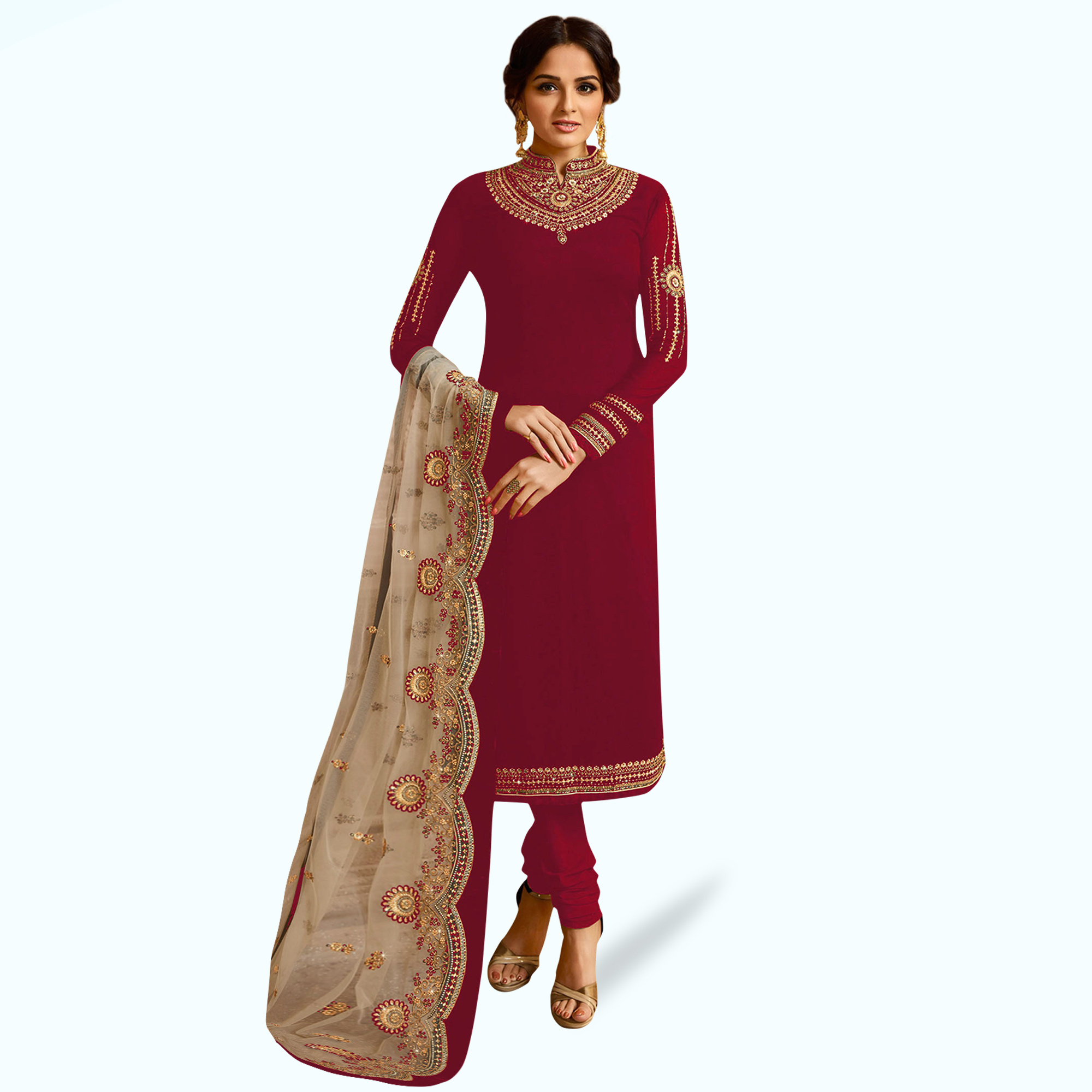 Innovative Red Colored Partywear Embroidered Georgette Lehenga Kameez
