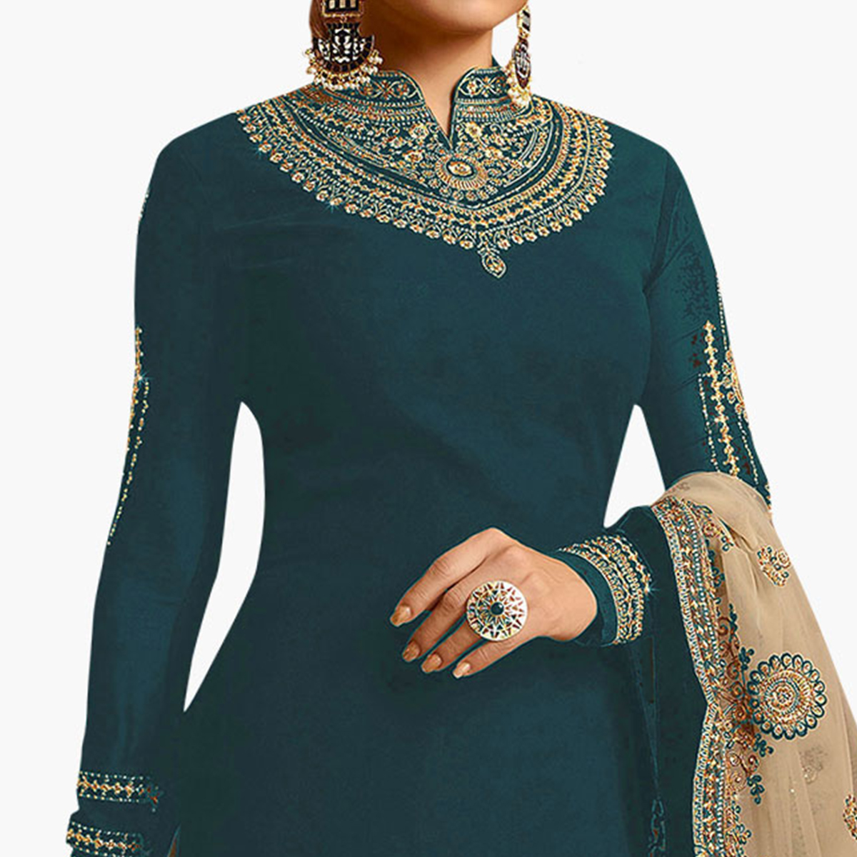 Jazzy Rama Blue Colored Partywear Embroidered Georgette Lehenga Kameez