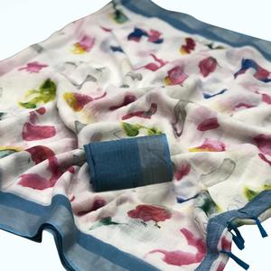 Pleasant White Colored Casual Digital Printed Pure Linen Saree