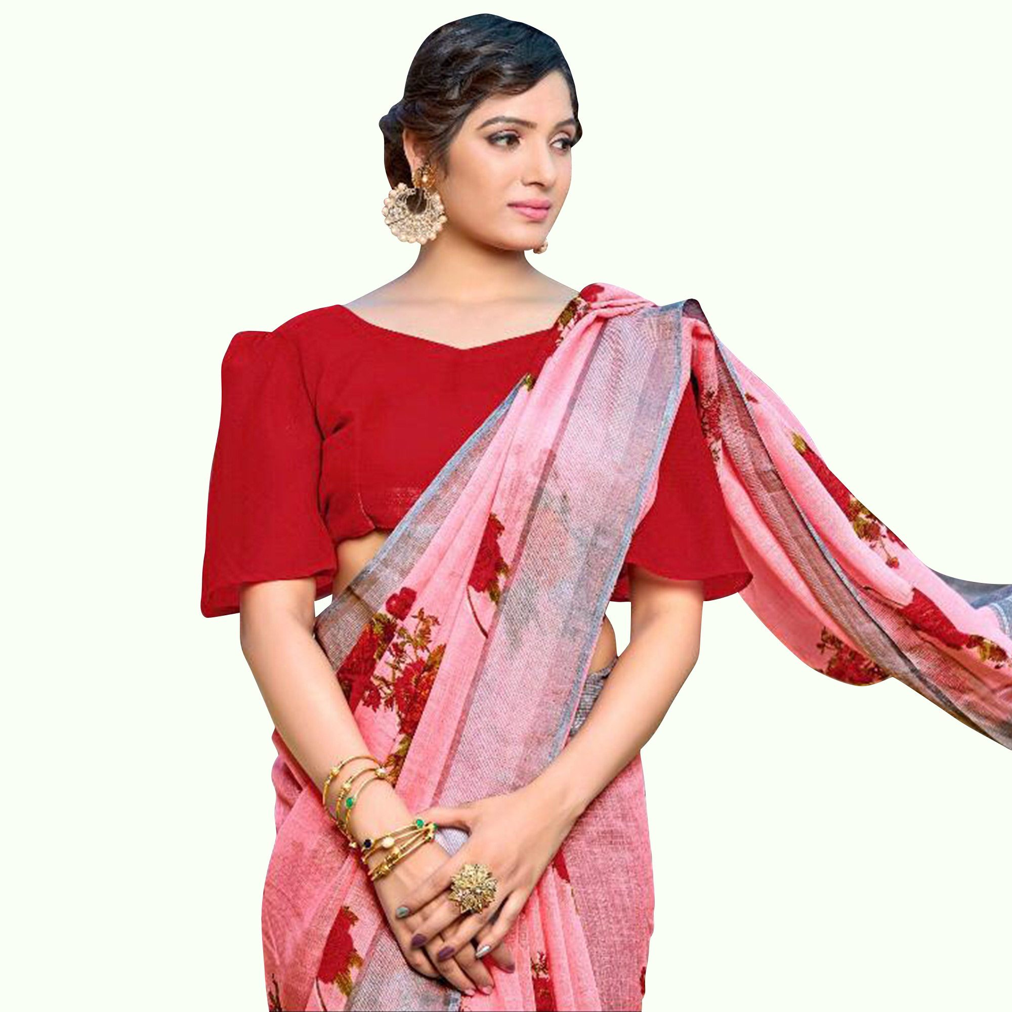 Opulent Pink Colored Casual Digital Printed Pure Linen Saree