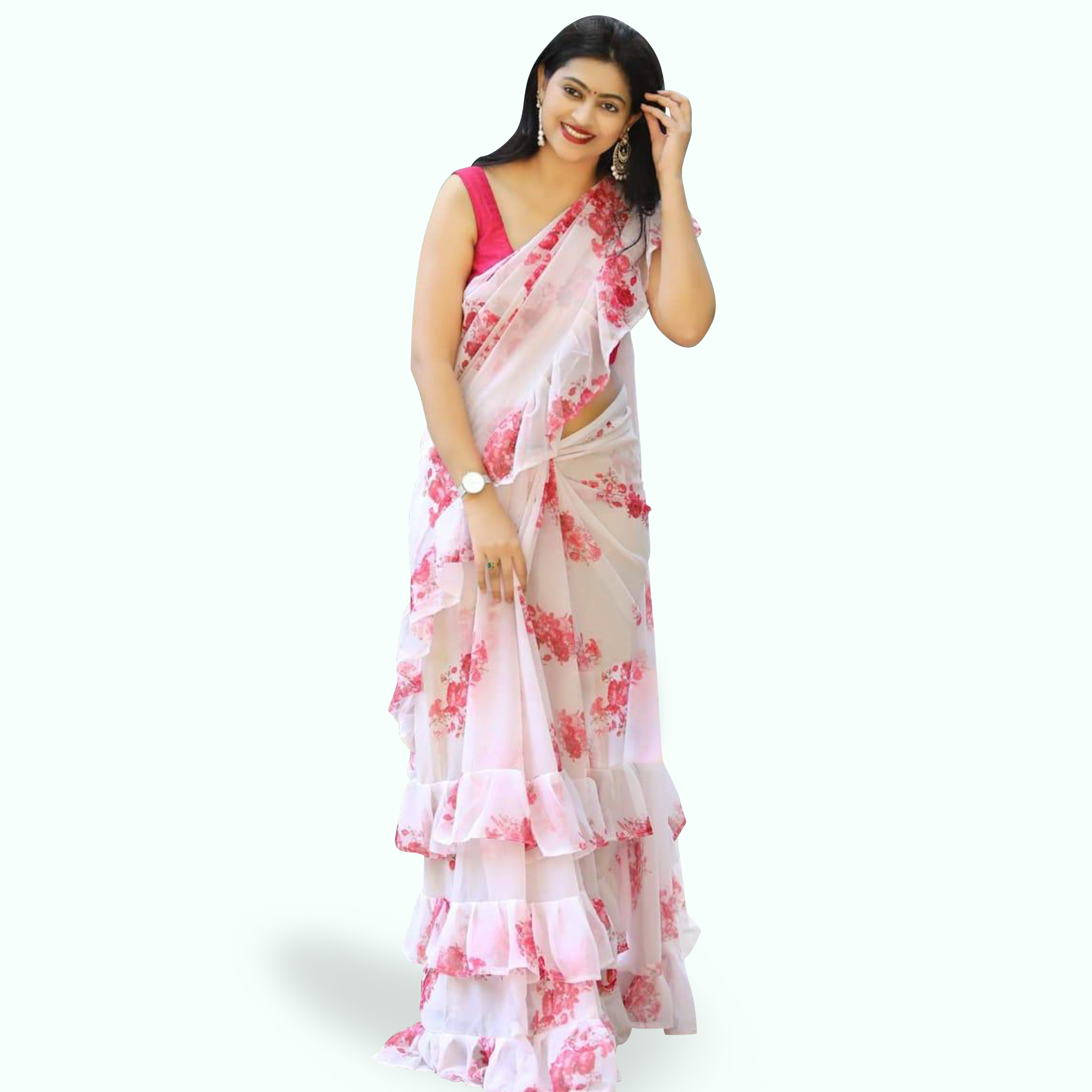 Energetic White Colored Printed Partywear Georgette Saree