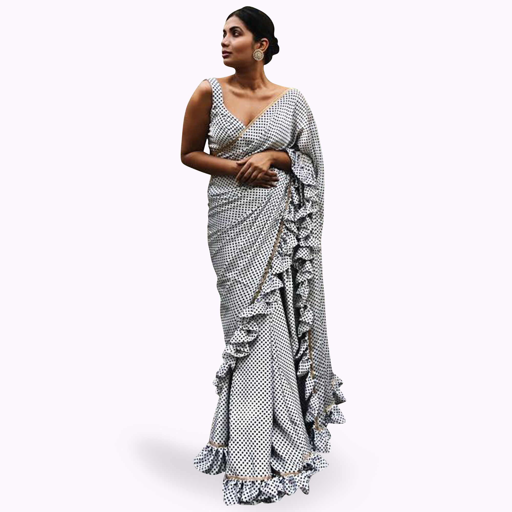 Glowing White Colored Printed Partywear Georgette Saree