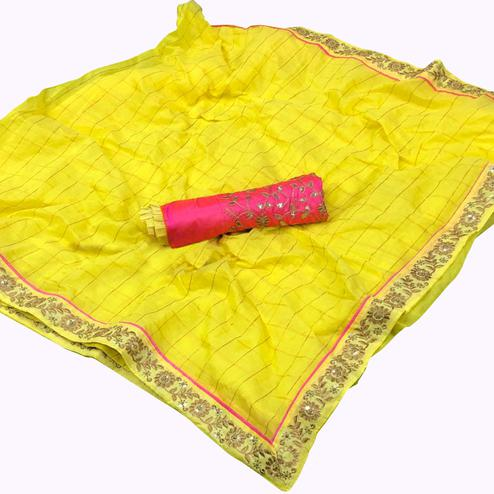 Exceptional Yellow Colored Partywear Embroidered Cotton Saree