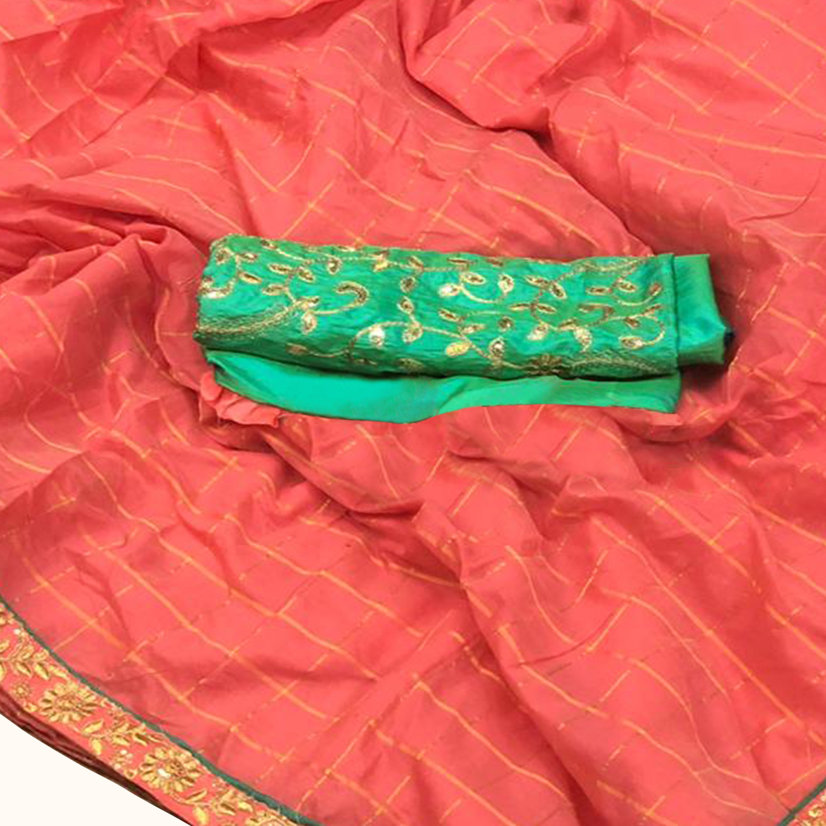 Gleaming Peach Colored Partywear Embroidered Cotton Saree