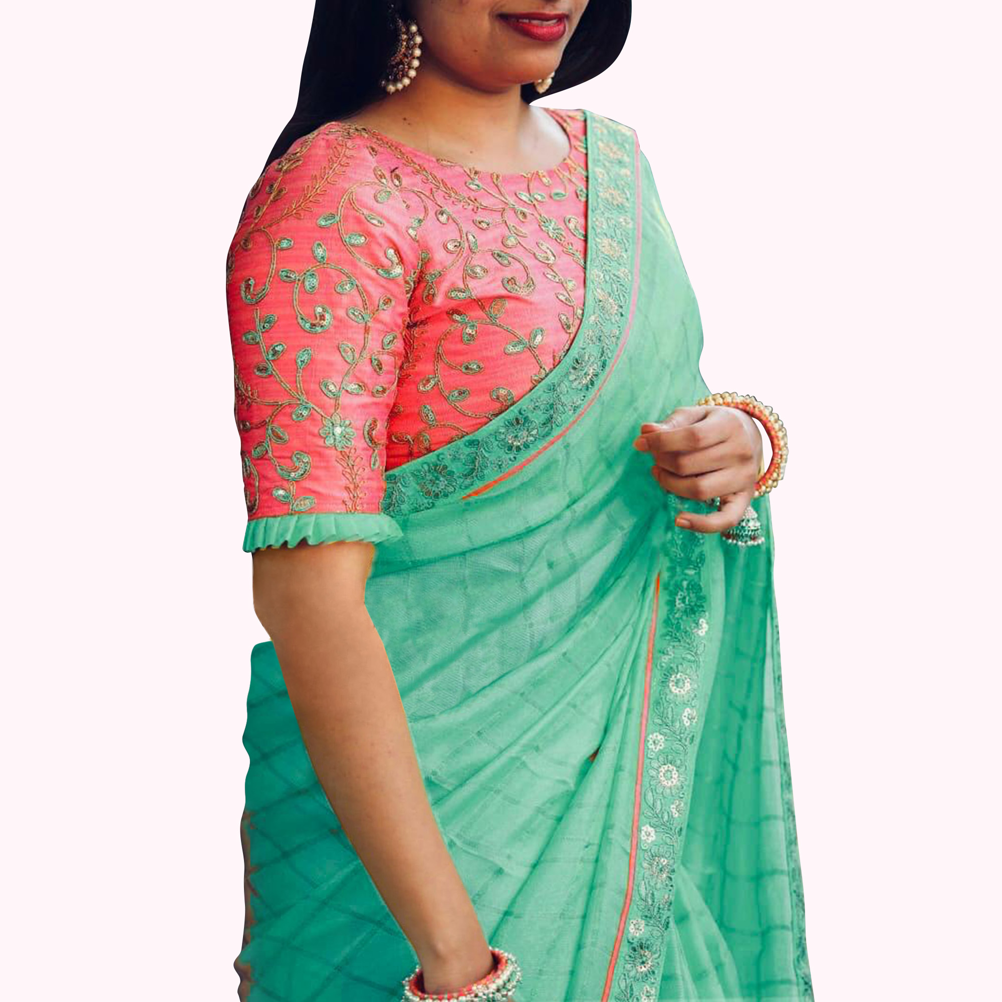 Mesmeric Green Colored Partywear Embroidered Cotton Saree