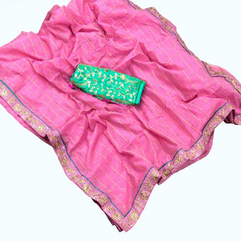 Unique Pink Colored Partywear Embroidered Cotton Saree