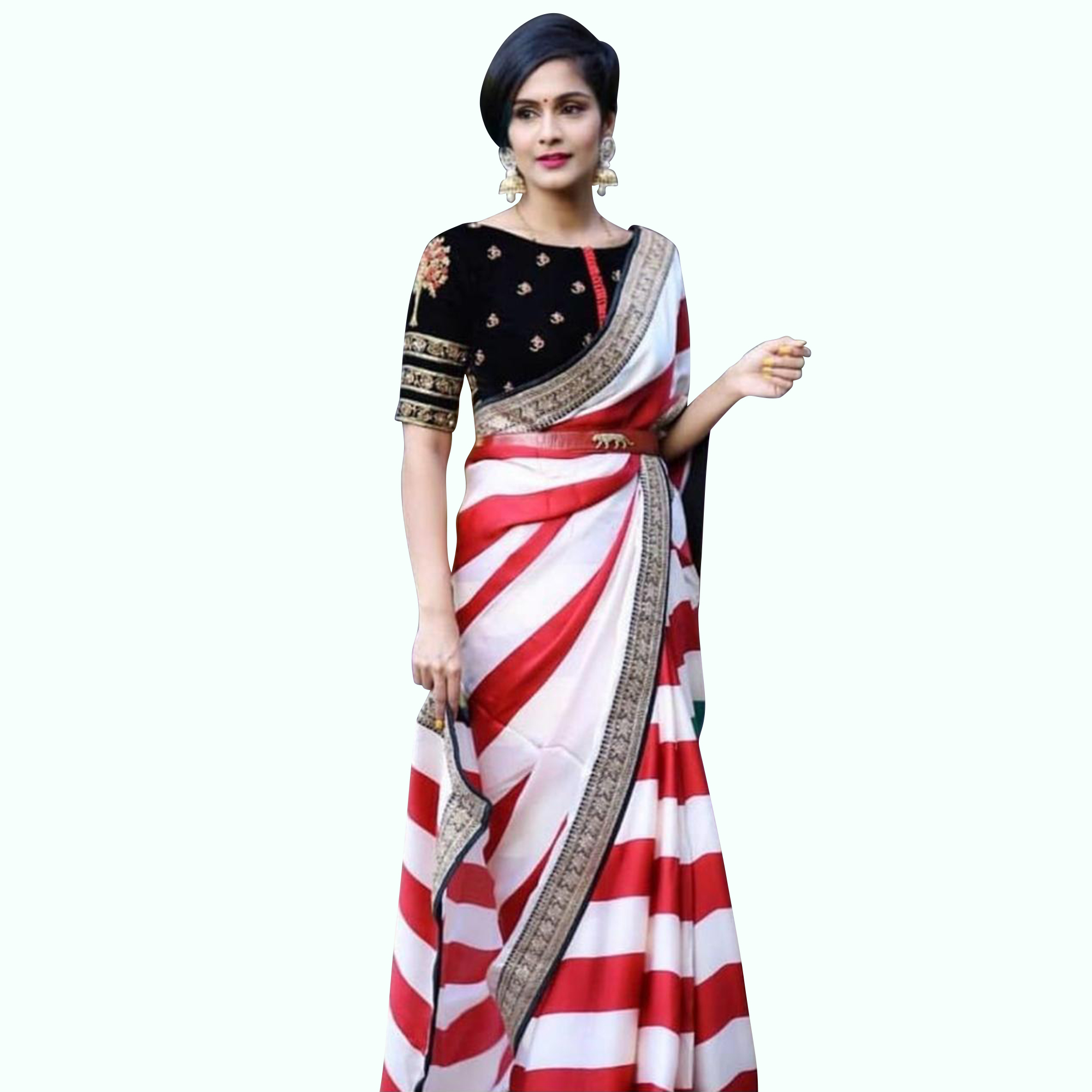 Demanding White-Red Colored Partywear Printed Georgette Saree