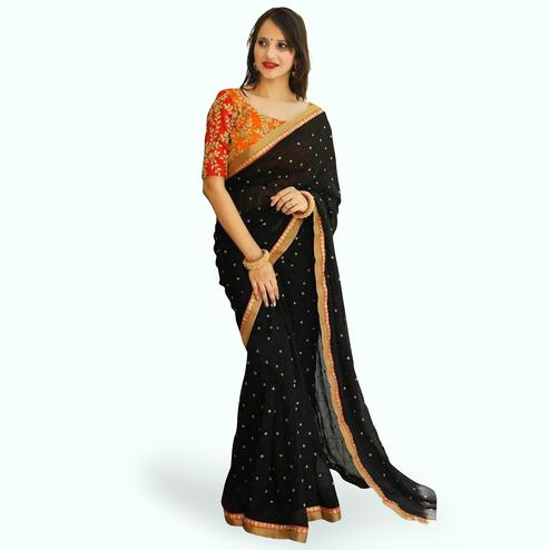 Refreshing Black Colored Partywear Georgette Saree