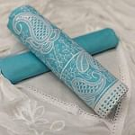 Graceful Sky Blue Colored Casual Embroidered Cotton Dress Material