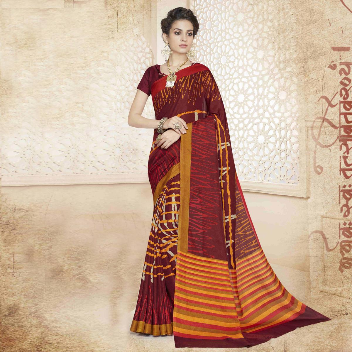 Maroon Casual Printed Saree