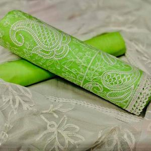 Charming Green Colored Casual Embroidered Cotton Dress Material
