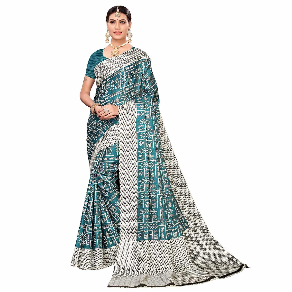 Glorious Turquoise Green Colored Casual Printed Art Silk Saree