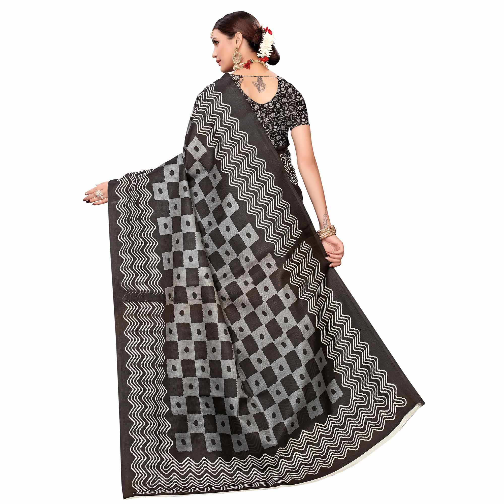 Blooming Black Colored Casual Printed Art Silk Saree