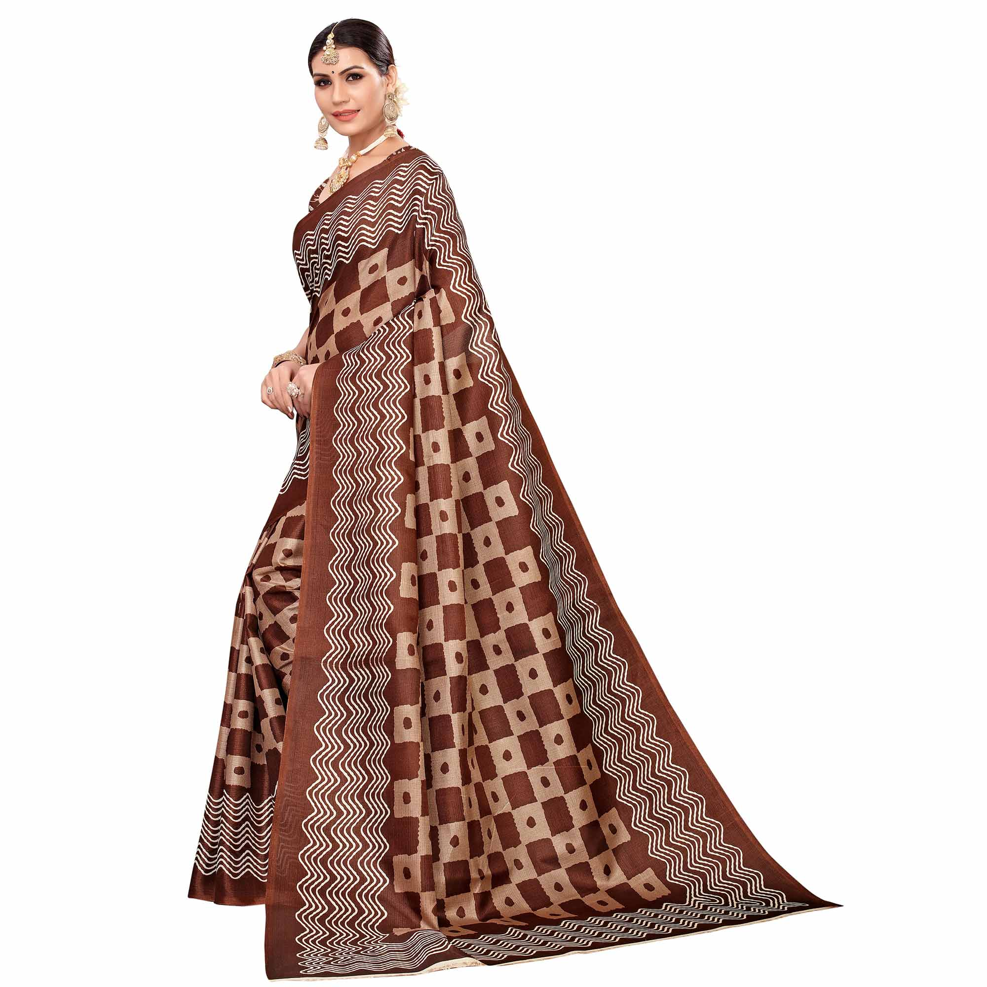 Charming Brown Colored Casual Printed Art Silk Saree