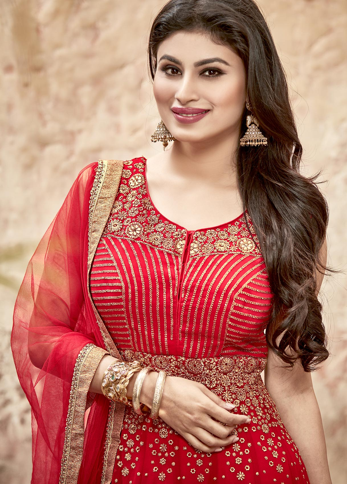 Prominent Red Patch Border Work Anarkali