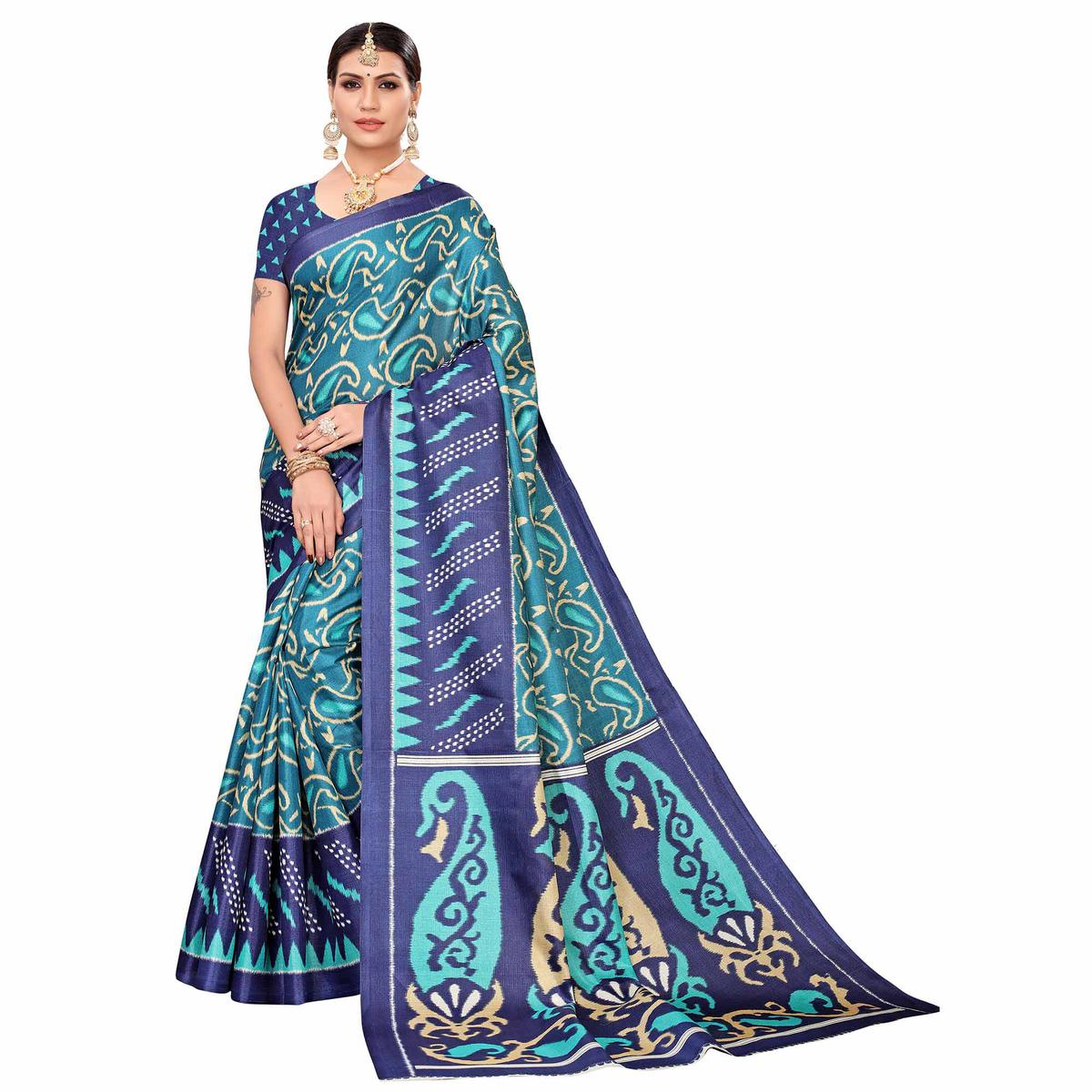 Innovative Turquoise Green Colored Casual Printed Art Silk Saree