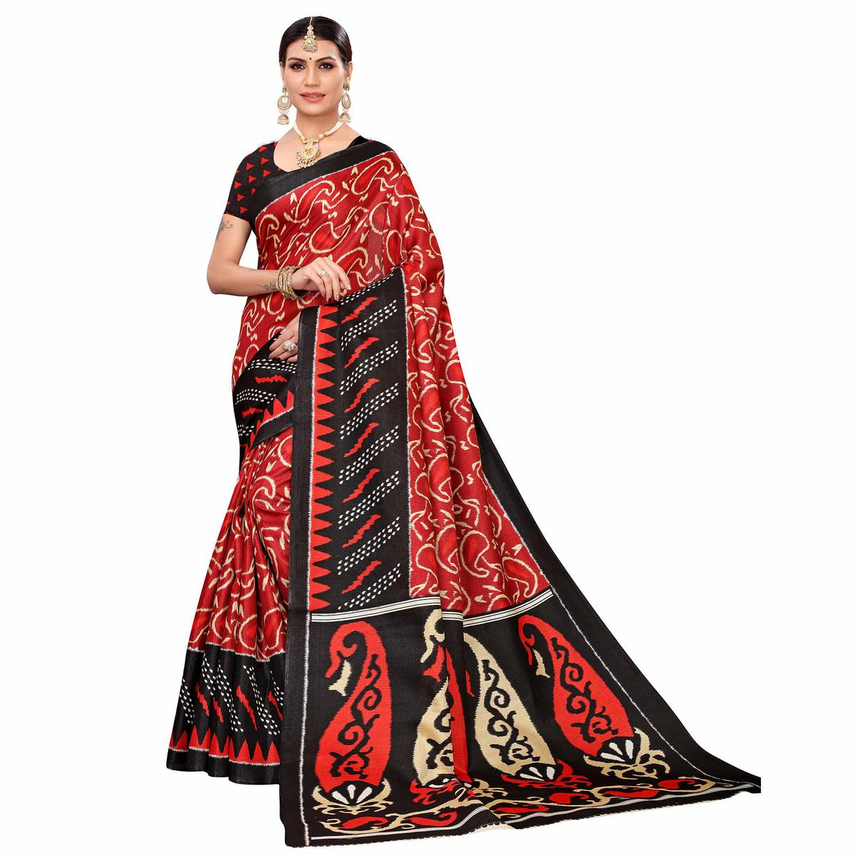 Eye-catching Red Colored Casual Printed Art Silk Saree